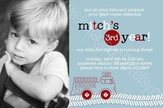 Gear Up Fire Engine Truck  Printable Birthday by kottageon5th
