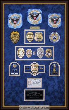 Police Retirement Shadow Box With Gun Badges Patchs