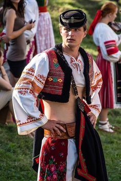 Traditional costume from the town of Detva, Slovakia Folk Fashion, Ethnic Fashion, Traditional Fashion, Traditional Dresses, Bratislava, Costumes Around The World, Man Skirt, Folk Dance, Folk Embroidery