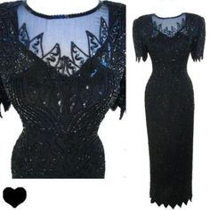 Vintage 80s Black Sequin Beaded Cocktail Party Dress L Prom Long SILK Bombshell #Vintage #Dress PinupDresses.com