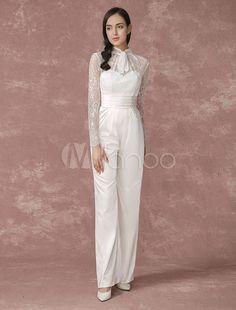 Mariage des combinaisons-pantalons longs en dentelle manches mariage pantalon dos Illusion Culottes a-ligne Satin robe de mariée