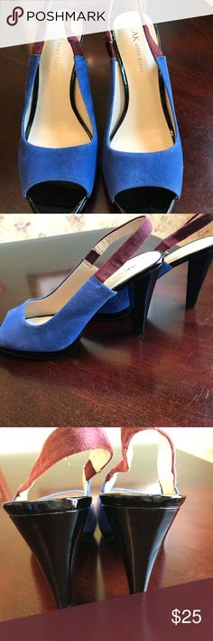 Anne Klein open toe slingback heels Blue and maroon suede (idk if real) like new heels. Only issue is noted in picture which is some cracking on the inside of slingback. Anne Klein Shoes Heels