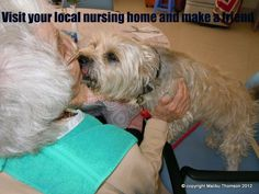 This is Malibu.  Friends PLEASE share our pic and tell all your friends about our page, were on a mission to let let the world know that visiting a friend at a nursing home is the best feeling in the world :O)