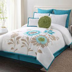 Eight-piece comforter set.  Product: 1 Comforter2 Euro shams2 Standard shams2 Accent pillows