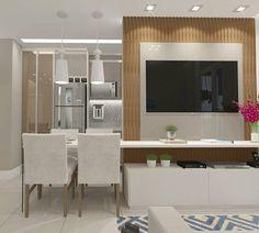 """621 curtidas, 5 comentários -  Interiores e Arquitetura (@criarinteriores) no Instagram: """"Sala   Trabalhamos um painel ripado amadeirado e nos demais elementos utilizamos cores claras para…"""""""
