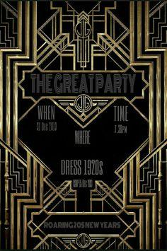 Great Gatsby wedding shower invitation Hollywood film theme