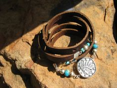 Endless Leather Wrap  TRIBES  Coin Medallion  by fleurdesignz, $38.00