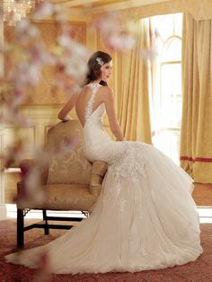 Sophia Tolli Wedding Dresses 2019 for Mon Cheri - Bridal Gowns Sophia Tolli Wedding Gowns, V Neck Wedding Dress, Wedding Dresses 2014, Gorgeous Wedding Dress, Wedding Dress Styles, Wedding Attire, Bridal Dresses, Tulle Wedding, Mermaid Wedding