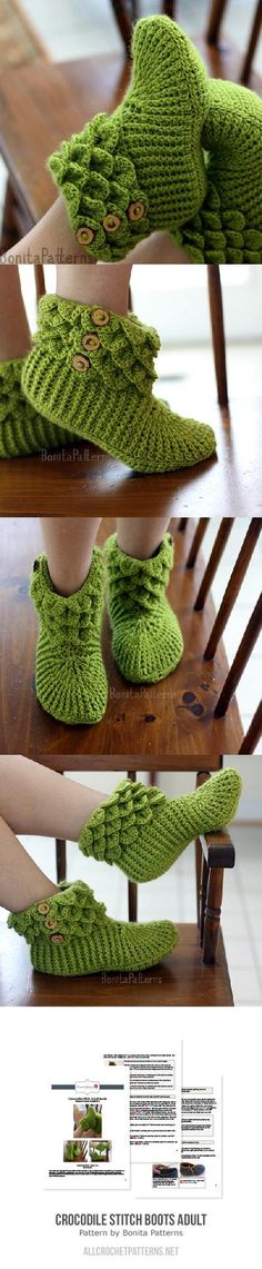 Crocodile Stitch Boots (adult Size) Crochet Pattern