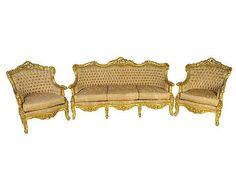 A LOUIS XV STYLE GILTWOOD THREE-PIECE SALON SET 20th Century