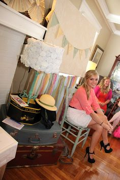 Sydney's Travel Theme Bridal Shower- great way to cover/decorate a TV