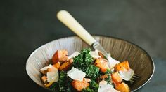 Kale Salad with Butternut Squash and Almonds Recipe | Bon Appetit