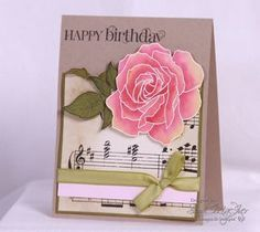 handmade birthday card ... kraft base ... music score background paper ... gorgeous big Manhattan Rose ... Stampin' Up!