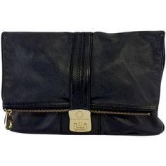 Pre-owned Marc by Marc Jacobs Black Oversized Leather Clutch ($75) ❤ liked on Polyvore featuring bags, handbags, clutches, pre owned handbags, oversized clutches, zipper purse, leather purse and marc jacobs purse