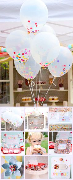 'Sprinkle' theme party. I LOVE these balloons for a small Sprinkle brunch at my mom's
