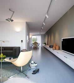 studio sol gris en lin salon vaste avec un meuble tl en bois mur - Salon Design Sol Gris