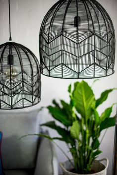These gorgeous hand made rattan lights come in a bell-shape design and woven zig zag detailing. Each light comes with wiring, a globe and in two different sizes. Wicker Pendant Light, Black Pendant Light, Black Basket, Shape Design, Pendant Lighting, Chandelier, Colorful Interiors, Interior Styling, Home Decor