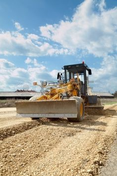 13248116 Grader working at road construction site