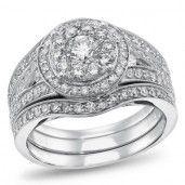 NK The Mosaic Diamond Collections, 14K White Gold Diamond Bridal Set, 1 3/8 ctw