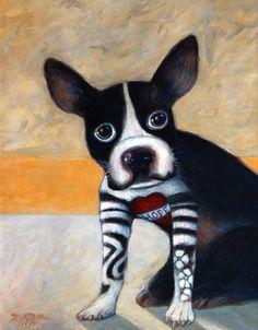 Boston Terrier Art Print Wall Art Collagraph Original Whimsical Dogs