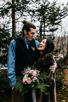 Cozy Alternative Fall Wedding Inspiration in Snowy Vermont