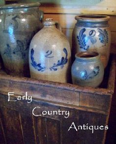 Early Country Antiques...old salt glazed crocks.