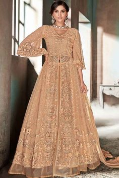 Peach Embroidered Lehenga/ Palazzo Suit features a heavy net top with embroidery. Comes with heavy jacquard net bottom and heavy japan satin inner with nazmin chiffon Lehenga Anarkali, Long Choli Lehenga, Heavy Lehenga, Lehenga Suit, Lehenga Style, Party Wear Lehenga, Salwar Suits, Saris, Fancy Suit