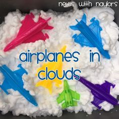 News with Naylors: Letter A: Craft Stick Airplane, Airplane Cloud Jumping, Airplanes in Clouds Sensory Bin (Day Transportation Preschool Activities, Airplane Activities, Transportation Unit, Airplane Crafts, Eyfs Activities, Toddler Activities, Transportation Theme For Toddlers, Cars Preschool, Sensory Activities For Preschoolers