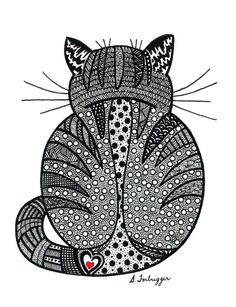 Black and White Zentangle Cat drawing Print by LimeGreenArtShop on Etsy https://www.etsy.com/listing/119640375/black-and-white-zentangle-cat-drawing