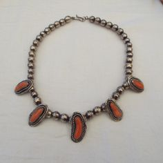 Masterfully Crafted Navajo Coral Station & Bead Necklace!