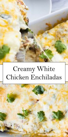 >>Click here<< Creamy White Chicken Enchiladas #yummy #food New Chicken Recipes, Mexican Food Recipes, Mexican Menu, Mexican Dishes, Enchilada Ingredients, Enchilada Recipes, Sunday Recipes, Great Recipes, Austrian Recipes