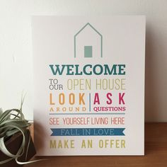 Use the Welcome Sign to greet your guests at your Open Houses. It's a great way to welcome potential buyers to your listing and goes great with an Open House Registry! - 8 x 10 - Printed on PVC, light Real Estate Signs, Real Estate Quotes, Real Estate Business, Real Estate Marketing, Home Staging, Realtor Signs, Open House Signs, Home Buying Tips, This Or That Questions