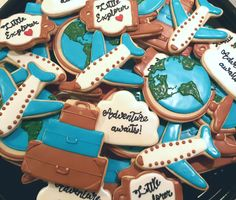 Little explorer/ adventure awaits/ travel themed baby shower cookies