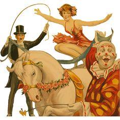 tubes cirque - Page 3 Cirque Vintage, Pop Art Vintage, Vintage Clown, Vintage Images, Vintage Posters, Not My Circus, Circus Art, Circus Theme, Pierrot