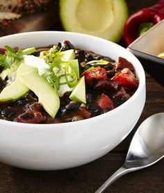 This black bean soup is packed with flavour and a really hearty soup. For the ultimate finish add spring onions, low fat sour cream and coriander. Black Bean Soup, Black Beans, Hot Soup, Coriander, Sour Cream, Chili, Cabbage, Avocado, Vegetables