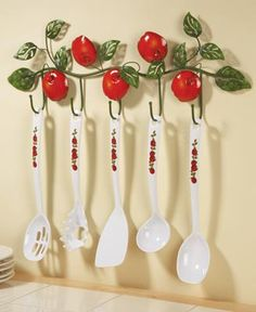 Apple Decor Utensils And Hanging Rack Red White Green Kitchen Decor Green Kitchen Decor, Apple Kitchen Decor, Kitchen Decor Themes, Red Kitchen, Kitchen Ideas, Apple Decorations For Kitchen, Cherry Kitchen, Kitchen Tips, Cheap Home Decor
