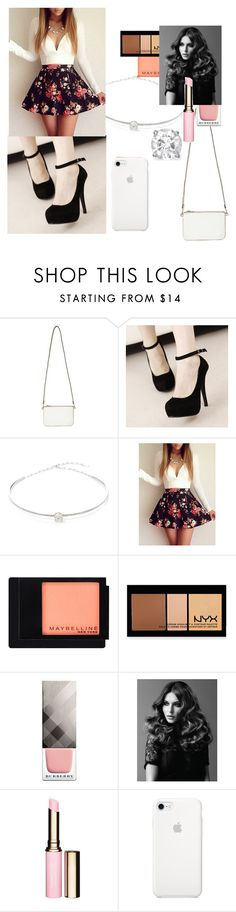 """""""Party Outfit"""" by mads-p on Polyvore featuring Miss Selfridge, Jack Vartanian, WithChic, Maybelline, NYX, Burberry, BaByliss Pro and Clarins"""