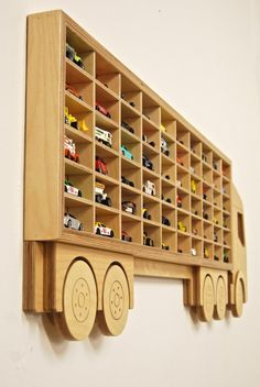 Hot Wheels Toy Car Storage, Display 60 Cars, Birthday Gift Idea for boys & Better than a toy box! Toy storage Car Shelving in Birch Plywood Wonderful toy car storage solution. Hand made and robust, using ply, made in South Wales. Toy Car Storage, Kids Storage, Storage Ideas, Box Storage, Fabric Storage, Matchbox Car Storage, Craft Storage, Storage Solutions, Boys Toy Box