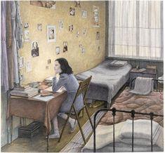 "Angela Barrett : Illustration for :""Dear Kitty"", written by Anne Frank // House Of Illustration Royal College Of Art, Children's Book Illustration, Book Illustrations, Book Art, Drawings, Inspiration, Wwii, Authors, Motivational People"