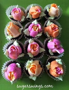 Sugar Swings! Serve Some: Piped Buttercream Flower Cupcakes (made with Russian piping tips)