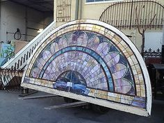 Antique Stained Glass Arched Window 12 3 ft Wide x 6 6 ft Tall | eBay