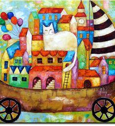 kolorowe domki i kotek