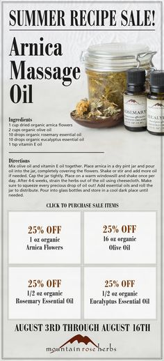 Summer Recipe Sale! Arnica Massage Oil. DIY recipe and 25% off ingredients.