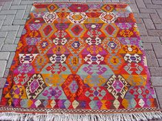 "VINTAGE Turkish Kilim Rug Carpet, Handwoven Kilim Rug,Antique Kilim Rug,Decorative Kilim, Naturel Wool 58,2"" X 45,2"". $249.00, via Etsy."