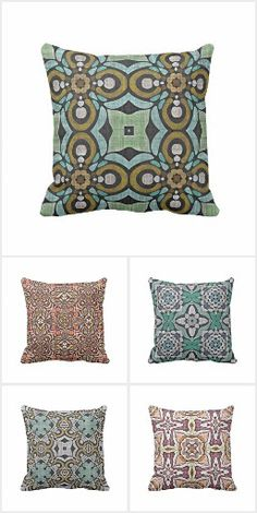 Classy, unique, pretty, fashionable and stylish home interior decor throw pillows. Beautiful colorful geometric and abstract Bohemian art nouveau deco style patterns, seemingly printed on a batik textile looking background. Ornate, elegant, classic and whimsical designs. Whether your style is modern, vintage, retro, rustic or contemporary... these pillows will look great in your living, family or master bedroom of your home, log cabin, country cottage, lake or river vacation home.