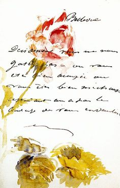 By Manet | Rosebud Letter with watercolor