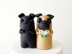 Pug Wedding Cake Topper  Black Pug and Fawn Pug by BonjourPoupette, $100.00