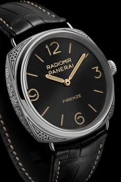 SIHH 2015 Novelties: Panerai Radiomir Firenze PAM00604, hand-engraved by expert Italian craftsmen. Only 99 examples of this new Special Edition are being made, and they are sold exclusively in Officine Panerai's historic Florence boutique in Piazza San Giovanni.
