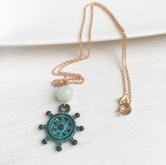 For all the sailors out there! Let's sail!  Ship Wheel Necklace, Nautical Jewelry, Nautical Gifts, Amazonite Necklace, Amazonite Pendant, Rose Gold Necklace, Ocean Necklace, For Her by MadeByMissM on Etsy