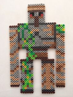 """Golem"" Minecraft Iron Golem beads – Famous Last Words Quilting Beads Patterns Diy Perler Bead Crafts, Easy Perler Bead Patterns, Melty Bead Patterns, Perler Bead Templates, Diy Perler Beads, Perler Bead Art, Beading Patterns, Loom Beading, Hama Beads Minecraft"
